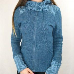 Prana | Blue hoodie zip-up wool jacket size M
